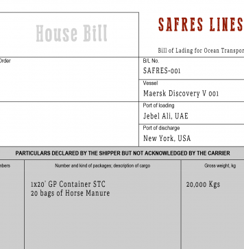 Sample Negotiable House Bill of Lading