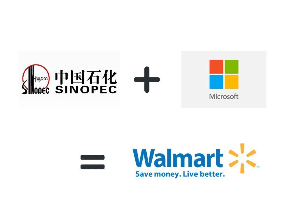 SInopec plus Microsoft equals Walmart in terms of Revenue