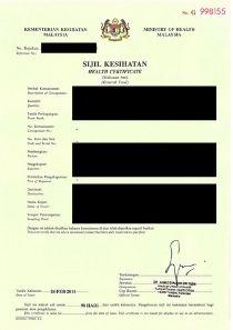 Sample Health Certificate